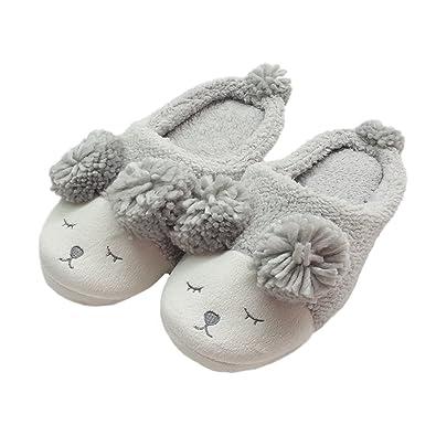 39e178ded69 Lacheln Women Indoor Winter Warm Fleece Slippers Ladies Girls Cute Non-Slip  Soft Plush Home