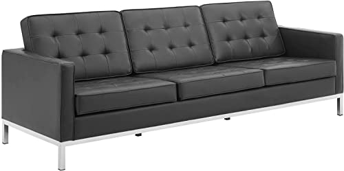 Modway EEI-3385-SLV-BLK Loft Tufted Button Faux Leather Upholstered Sofa