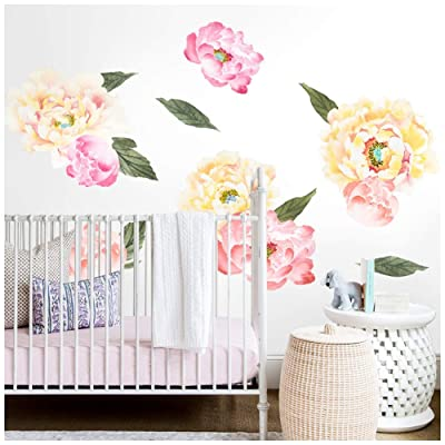 HAOKHOME W-10705-1 Peony Flowers Wall Decal Flower Wall Sticker Floral for Girls Bedroom Living Room Nursery Décor: Home Improvement