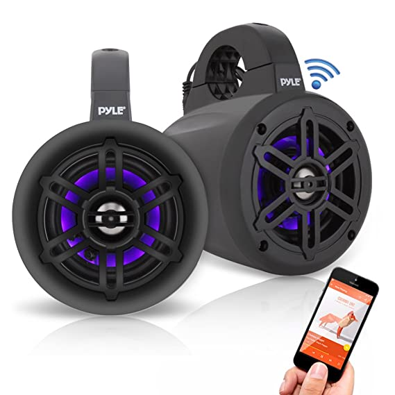 pyle waterproof rated bluetooth marine tower wakeboard subwoofer speaker system with wireless music streaming & led lights (4\