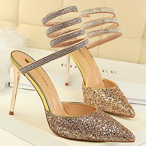Mit Fuß Toe Court Pailletten Women's Nah Schuhe Pumps Stiletto Bar Spitze Schuhe Sandalen Surround Heel Sexy High BWPPvcp