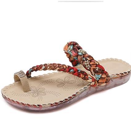 LIANGXIE Zapatillas de Mujer Moda de Verano Bohemian Rhinestones Clip Toe Shoes Sandalias de Gran tamaño