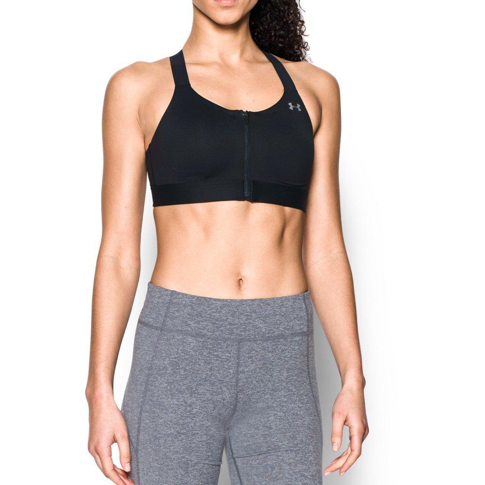 Under Armour Women's Armour Eclipse High Impact Zip Sports Bra, Black/Metallic Silver, 36D