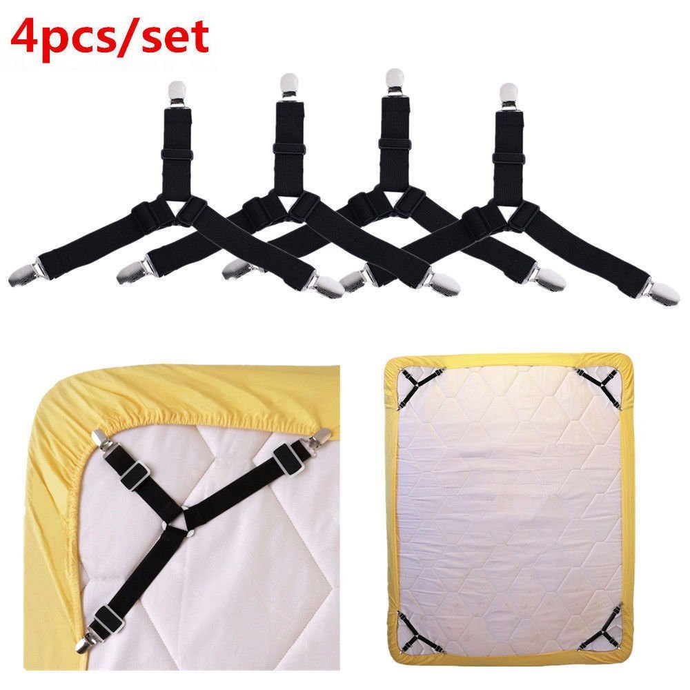 energi8_zae 4x Adjustable Bed Sheet Grippers Holder Straps Clips, Mattress Pad Cover Keepers