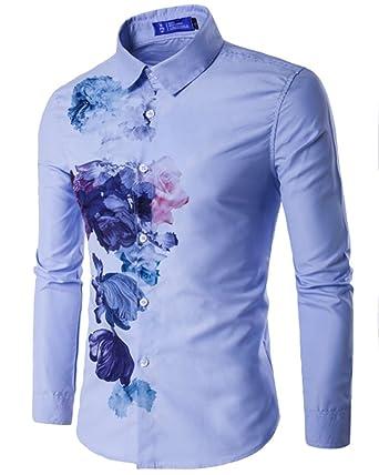 0e72acb0184d8 Hombre Camisas Moda Manga Larga Slim Fit Casual Botón Shirts  Amazon.es   Ropa y accesorios