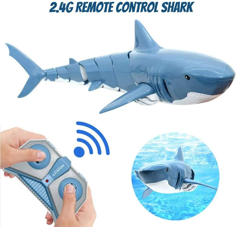 firstoo Remote Control Shark Toys,2.4G High Speed Competitive Electric Toy Remote Control Boat,Newest Simulation Waterproof Fish RC Shark Kids Water Swimming Toys Best Gift for Kids