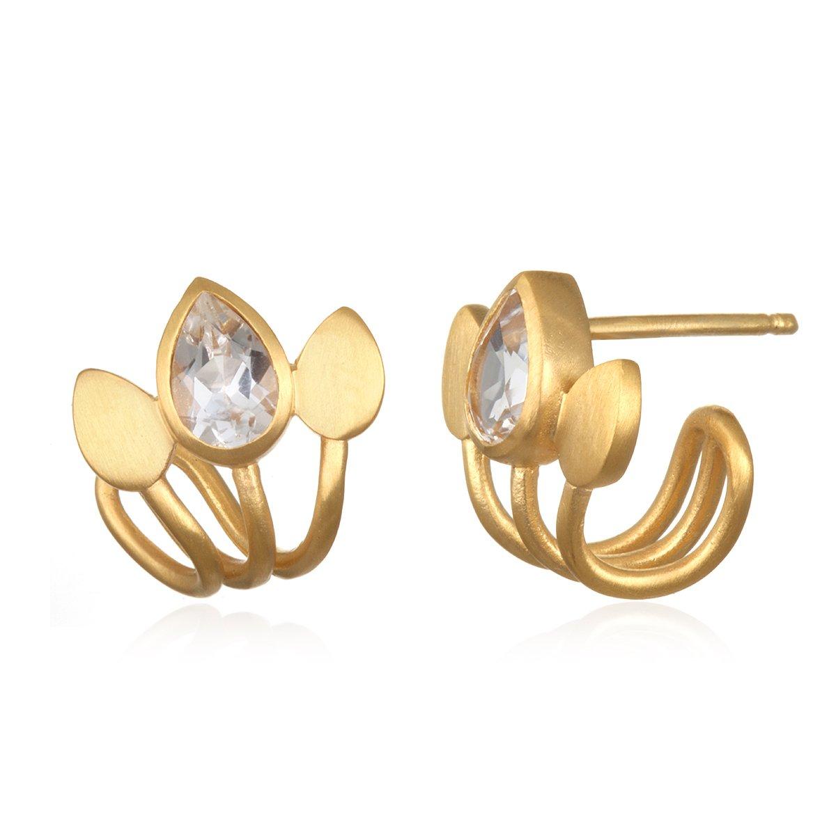 Satya Jewelry Womens White Topaz Gold Lotus Cuff Earrings, One Size