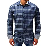 Men Plaid Shirt Casual Fashion Jean Western Denim Top Blouse Button Down Shirt Zulmaliu (Blue, 2XL)