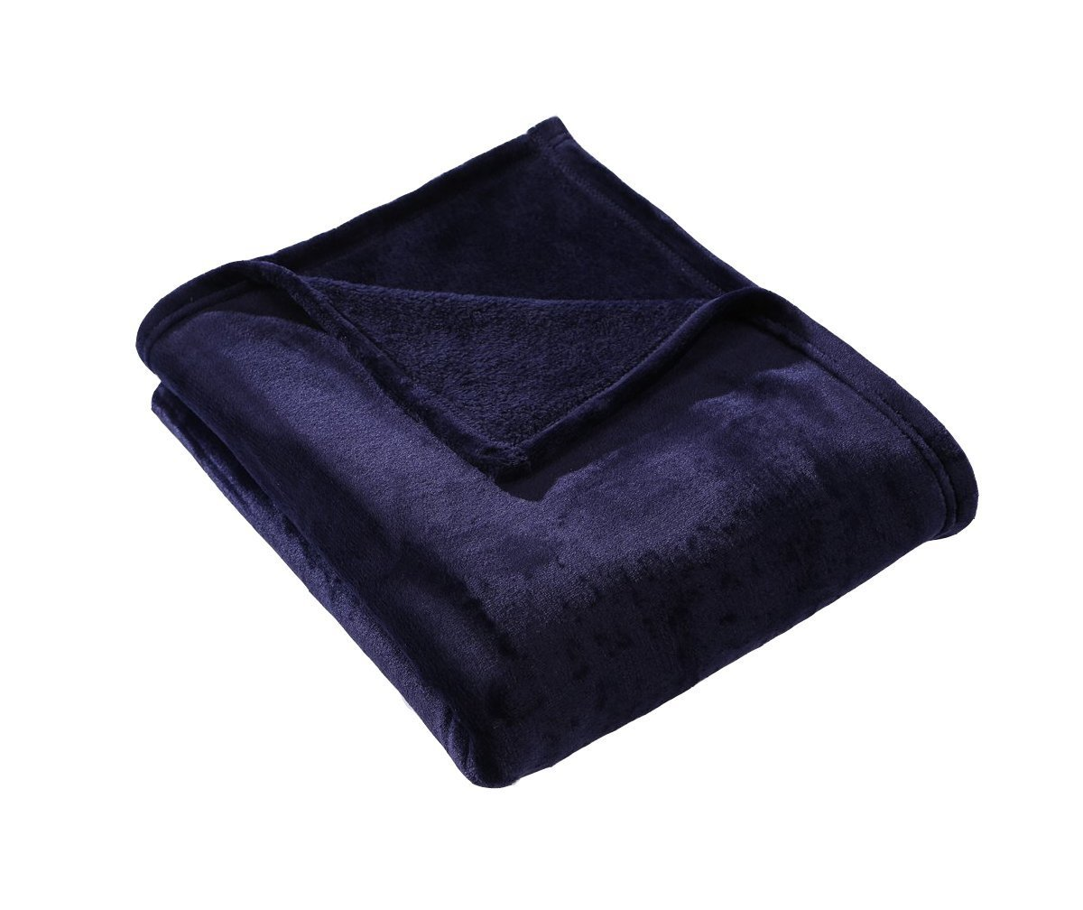 HYSEAS Velvet Throw, Light Weight Plush Luxurious Super Soft and Cozy Fuzzy Anti-Static Throw Blanket for Couch Chair All Seasons, 50x60 Inches, Navy Blue