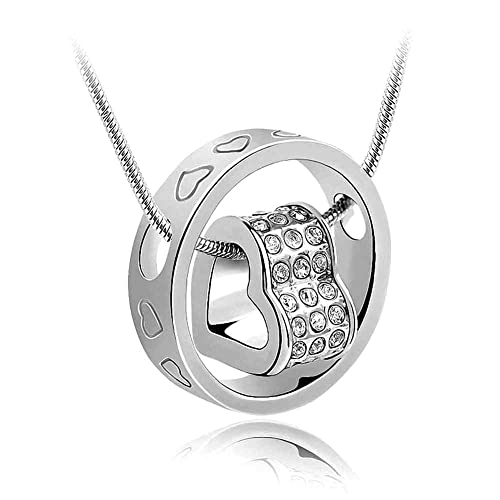 07d00f229162a Swarovski Elements Crystal Diamond Accent Heart Shape Round Circle Pendant  Necklace With A Gift Box.---White