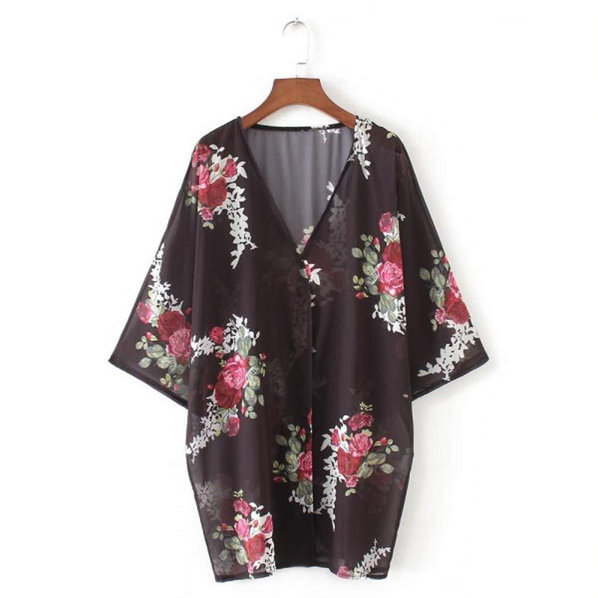 OTINICE Women's Chiffon Kimono Cardigans Floral Puff Sleeve Casual Loose Swimwear Cover ups Black by OTINICE (Image #3)
