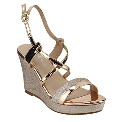 28ba20a37e8 Forever Happy-08 Women s Glitter Strappy Wrapped Wedge Heel Platform Sandals
