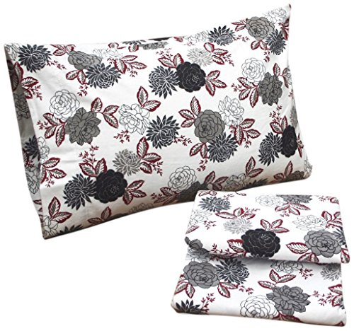 - Tribeca Living Dahlia Floral Printed Deep Pocket Flannel Sheet Set, Queen (Renewed)