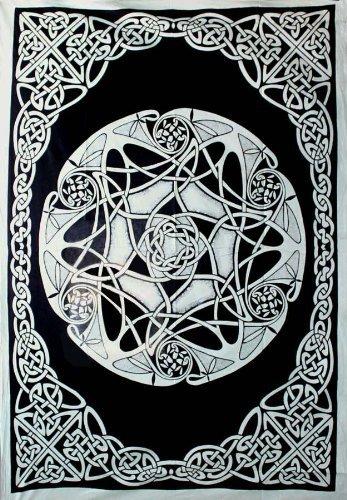 """58""""x82"""" Earth Celtic in Black & Grey Tapestry"""