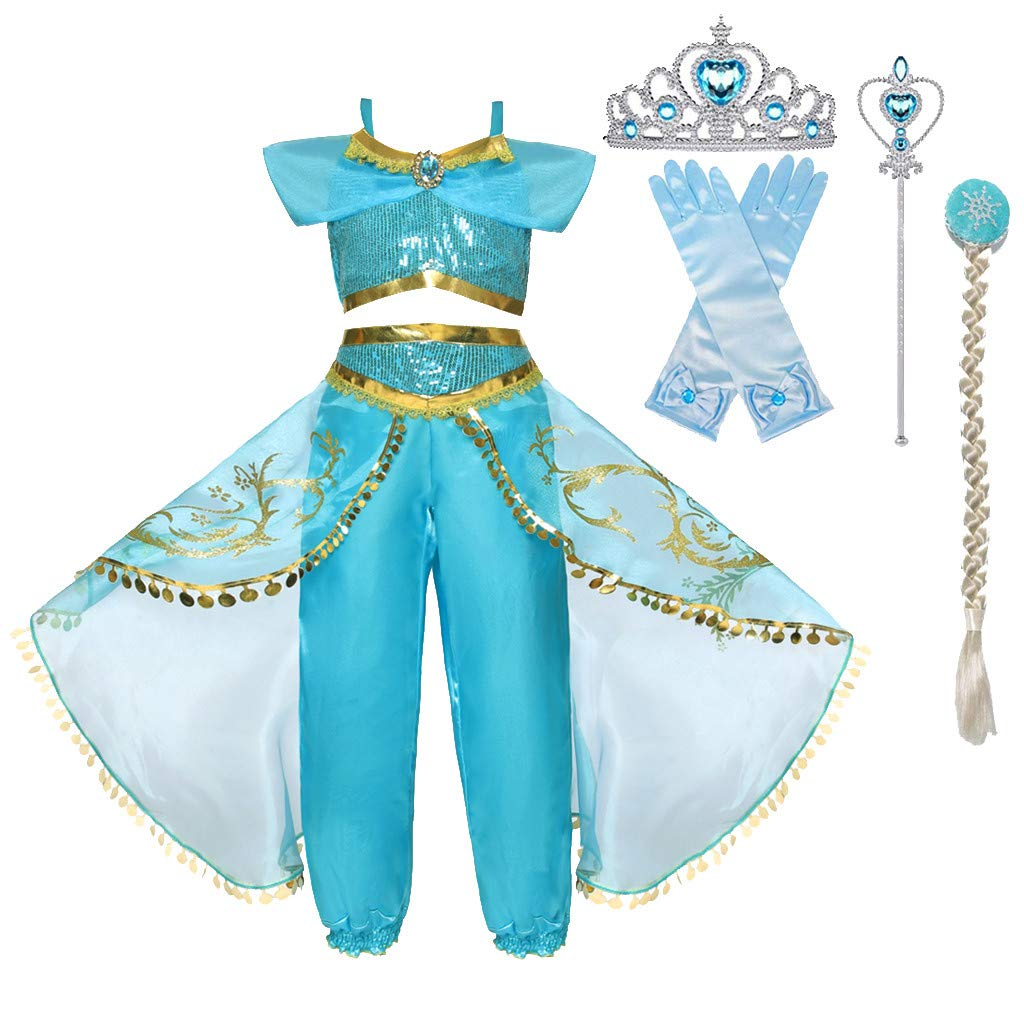 Sameno Toddler Girls Cosplay Princess Dress Up 2-7t Sequin Tulle Lace Tutu Party Pageant Ball Gown Halloween Costume Set by SamXmasBaby