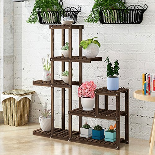 LIZX Classic Solid Wood Flower Rack 5 Tier Indoor Display Stand, Fir Wooden Flower Pot Display Shelf Multi-function Storage Rack, Two Colors ( Color : White ) by Flower Pot Stand