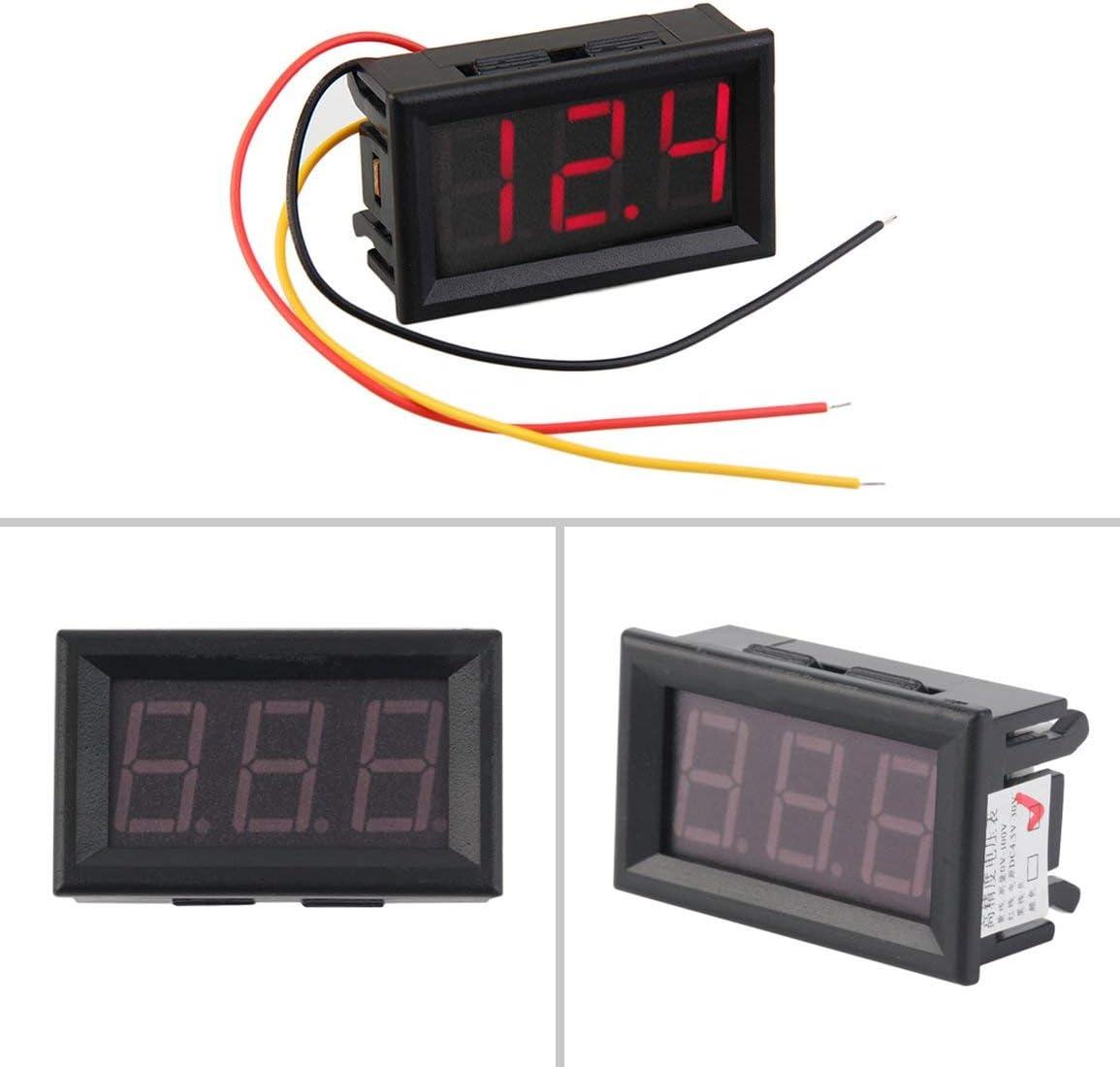 10pcs Affichage LED haute pr/écision de mesure Mini Voltm/ètre num/érique 0-100V LED rouge V/éhicules Panneau de tension moteur compteur