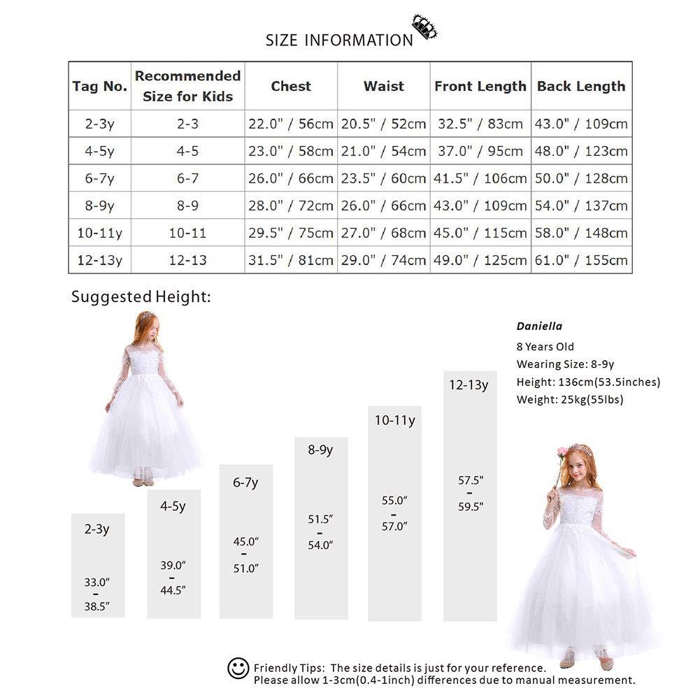 OBEEII Abito Cerimonia Bambina in Pizzo a Maniche Lunghe Elegante Vestito da Principessa Sera Sposa Prima Comunione Damigella Bambina Cocktail Prom per Ragazze 2-13 Anni