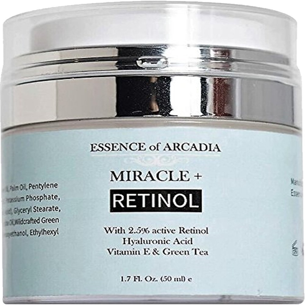 Retinol Moisturizer Cream High Strength for Face and Eye Area Miracle Plus - 2.5% Retinol, Hyaluronic Acid, Vitamin E, Green Tea - Anti aging Formula Reduces Wrinkles, Fine Lines, Spots-Day and Night by Essence Of Arcadia