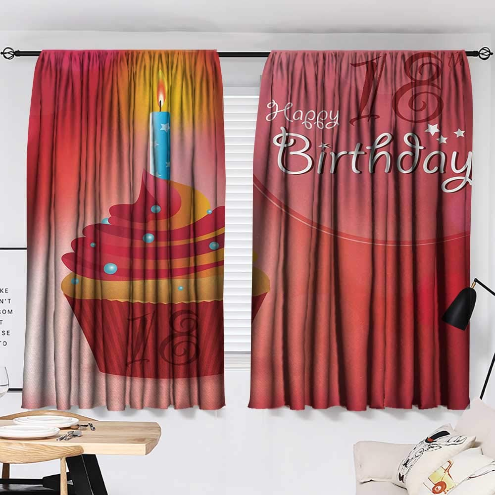 Jinguizi 18th Birthday Bedroom/Living Sweet Eighteen Party Birthday Cupcake with Candles Artwork Print Insulating Darkening Curtains Hot Pink Red and Orange W55 x L39 by Jinguizi (Image #2)