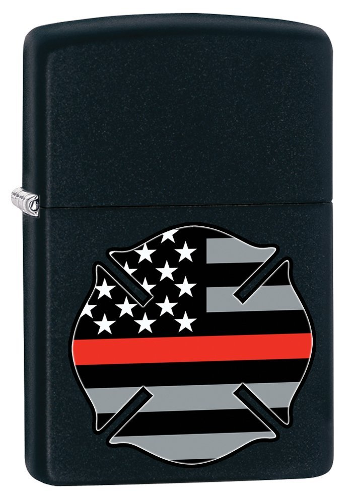Zippo Red Flag Firefighter Black Matte Pocket Lighter