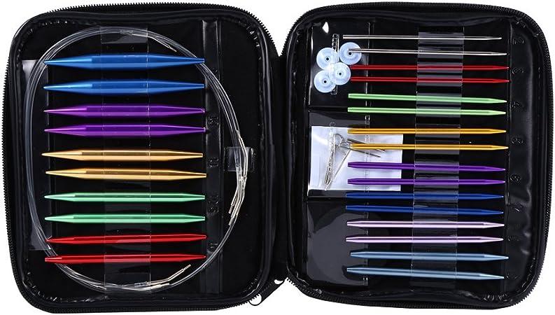 Estuche de 13 agujas de tejer circulares, fabricadas en aluminio, intercambiables, de distintos tamaños, de 2,75 mm a 10 mm: Amazon.es: Hogar