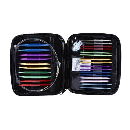 Estuche de 13 agujas de tejer circulares, fabricadas en aluminio, intercambiables, de distintos tamaños, de 2,75 mm a 10 mm