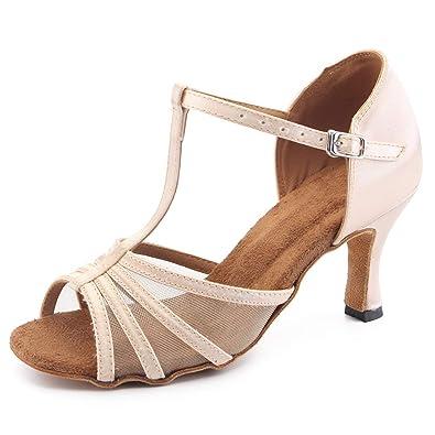 d3837bb1f9c Misu Women s Open Toe Sandals Latin Salsa Tango Practice Ballroom Dance  Shoes with 2.75 quot  Heel