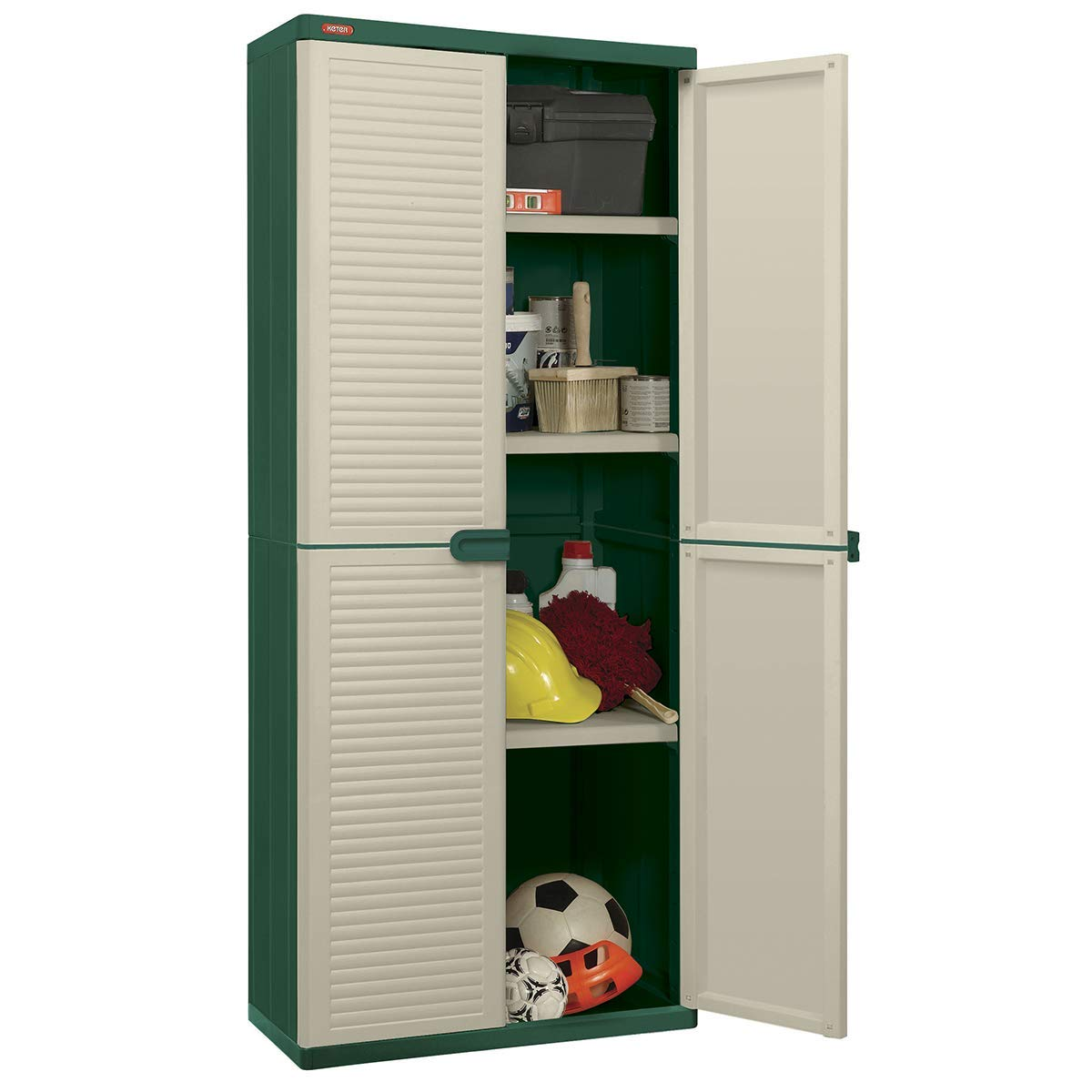 Keter Space Winner – Outdoor Wardrobe Organiser High Cupboard with 2 Shelves 68 x 38 x 163 cm Green and Beige Curver 17201402