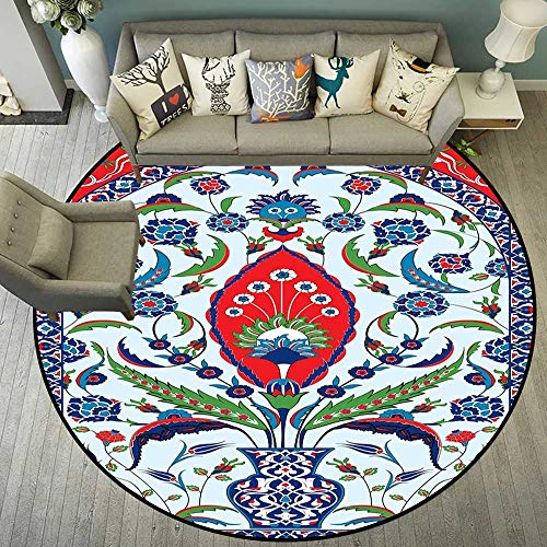 Round Floor mat for high Chair Round Indoor Floor mat Entrance Circle Floor mat for Office Chair Wood Floor Circle Floor mat Office Round mat for Living Room Pattern 5'3