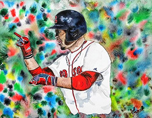 Open Edition Sports Print (MOOKIE BETTS, Watercolor Print, Red Sox Painting, Watercolor Print ORIGINAL - Open Edition Mookie Betts Boston Sports)