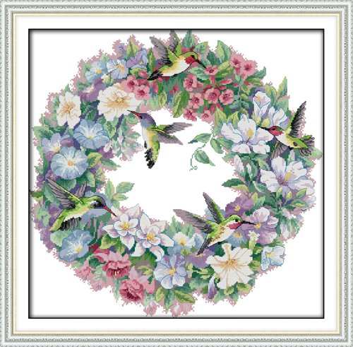 "ITSTITCH Needlecrafts Counted Cross Stitch Kits 14Count ,Embroidery Kits, Cross Sitich Pattern For Colorful Garland , Flowers And Birds ""19.7 x 20.1"" The Art of Hummingbirds (Frameless) - Beautiful Bird Counted Cross Stitch"