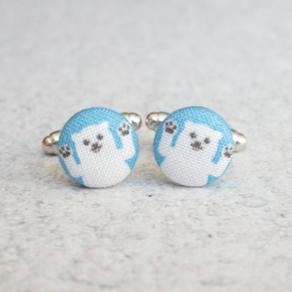 Polar Bear Fabric Button Cufflinks