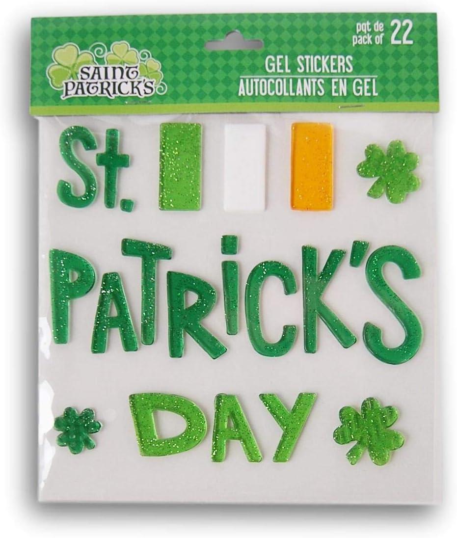 Holiday St 22 Piece Patricks Day Irish Flag and and Shamrocks Gel Window Clings