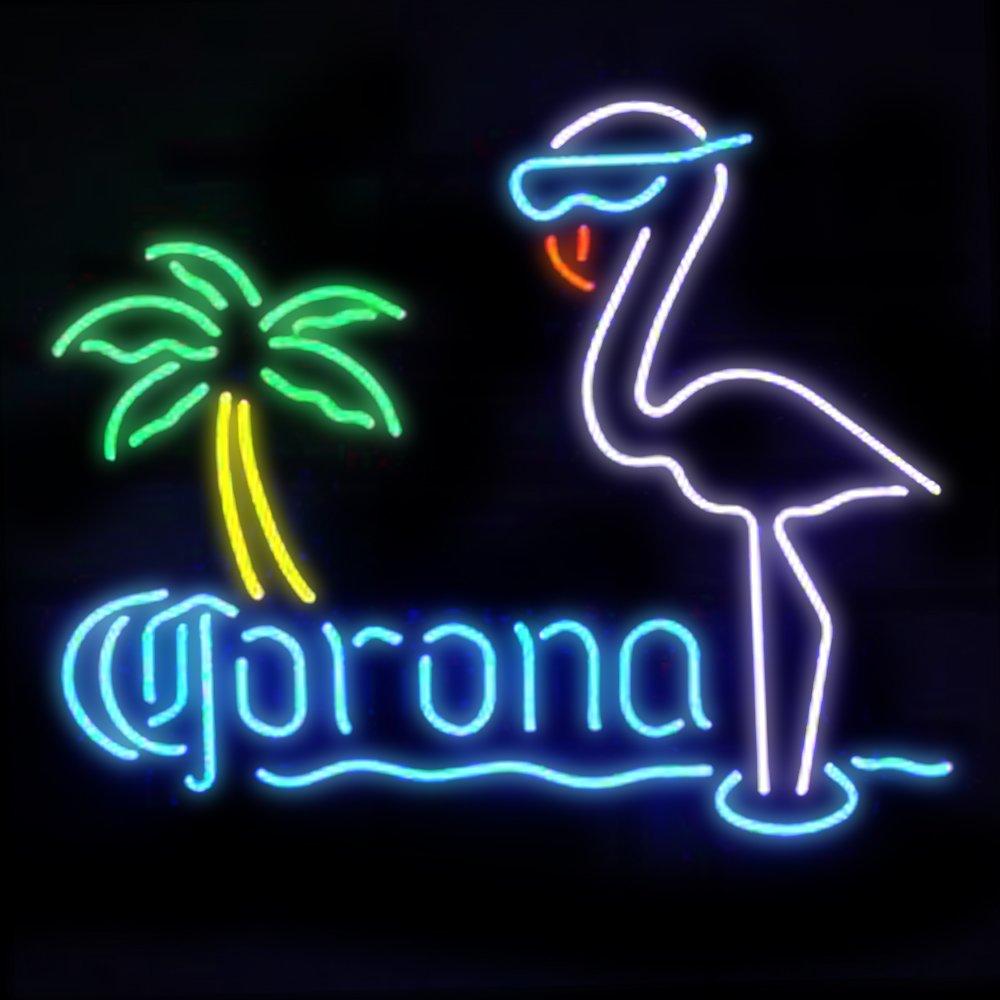 Corona flamingos Handcrafted Neon Light Sign19x15