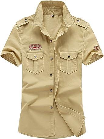Camisa Hombre Manga Corta Casual Suelto Solapa Outdoor Camisa
