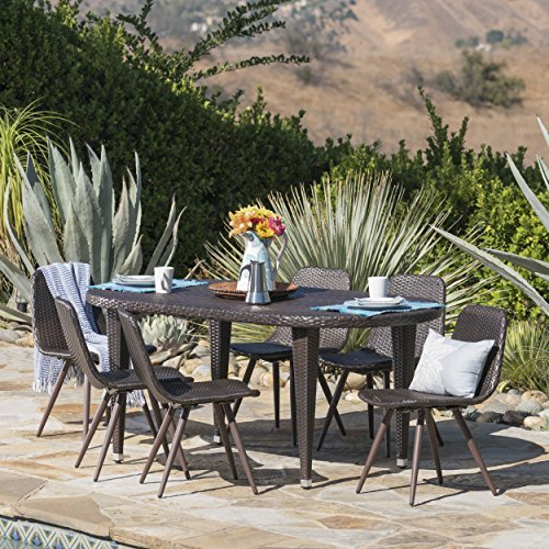 Great Deal Furniture Linna | 7 Piece Outdoor Wicker Oval Dining Set | in Multibrown