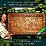 44'' The Sixth Day of Creation 112cm Wood carved 3D painting icon orthodox art