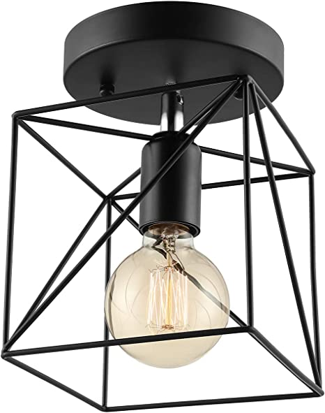 Litfad Squared 1lt Semi Flush Ceiling Light In Black With Wire Cage Industrial Pendant Light For Kitchen Foyer Porch Bathroom Amazon Com