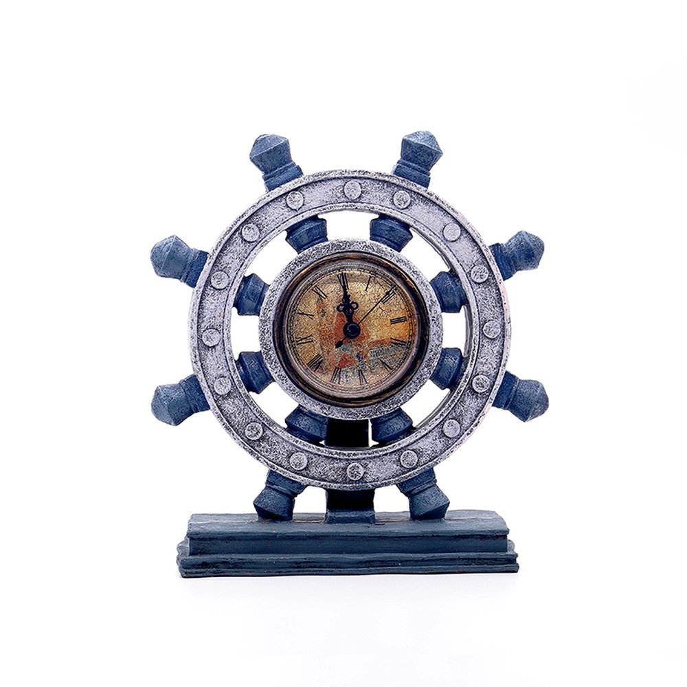 BWLZSP 1PCS Vintage Rudder Compass Clock Cafe Office Windows Decoration Desktop Props Decoration Home Mediterranean AP509920 (Color : SILVE)