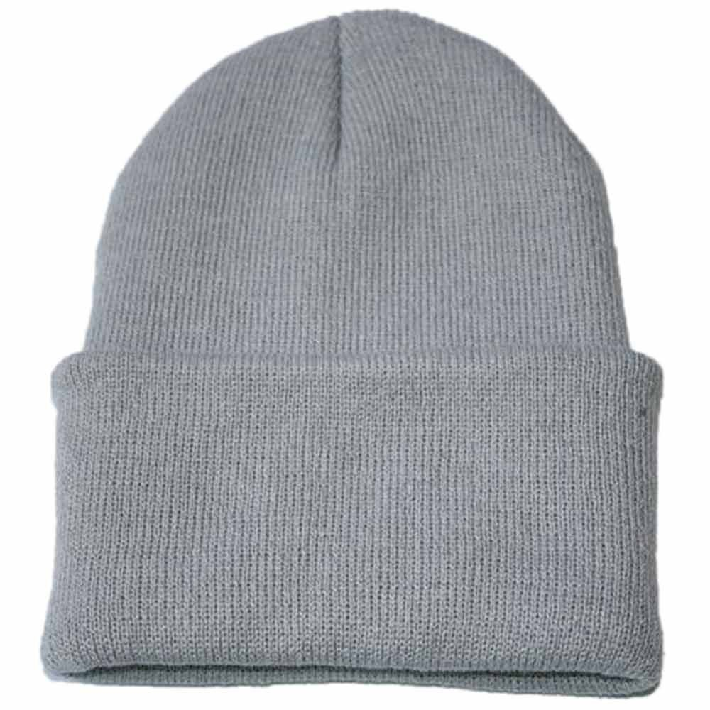 Men Women Beanie Solid Color Hip-hop Slouch Unisex Knitted Cap Hat Deep Gray IA