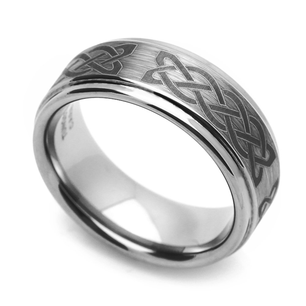 Double Accent Custom Engraving 8MM Comfort Fit Tungsten Wedding Band Celtic Knot Engraved Promise Ring