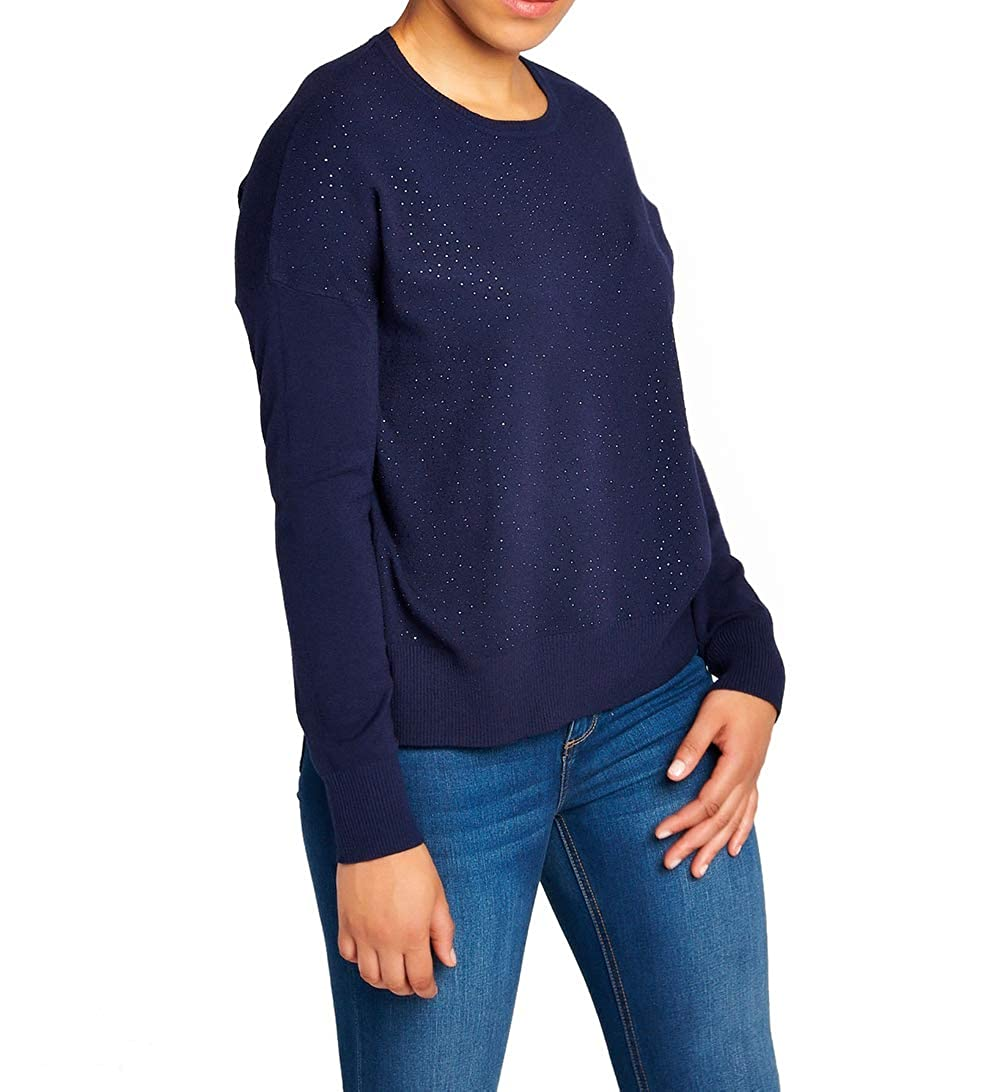 BENANCY Women's Sequins in Front Crewneck Soft Pullover Knit Sweater Tops CBEN20008