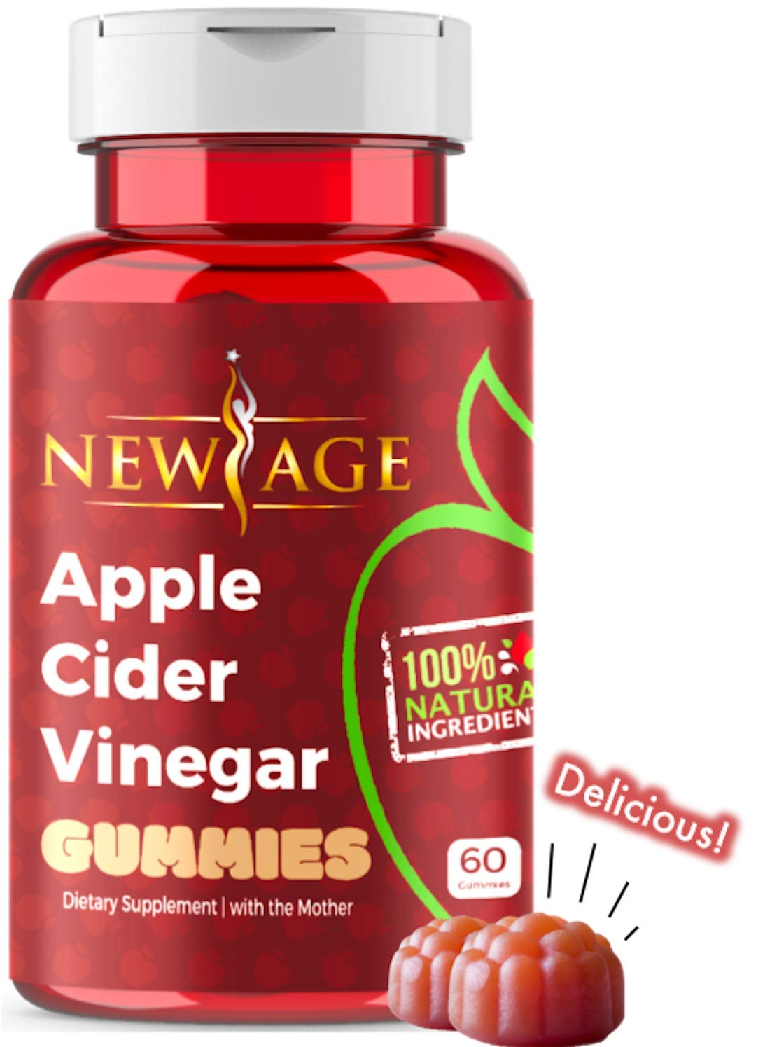 Apple Cider Vinegar Gummies by New Age - Amazing Taste with Raw, Organic, Unfiltered Mother ACV - Vegan & Non-GMO Gummy Alternative to ACV Capsules. Weight Control Detox Cleanse Support. Made in USA.