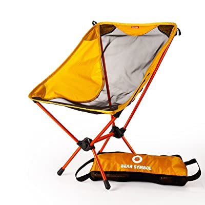 Portable Folding Camping Chair Moon Backpack Lightweight Compact Breathable Stuck-Slip-Proof Feet For Outdoor Camp Travel Picnic Festival Hiking With A Carry Bag(Orange)