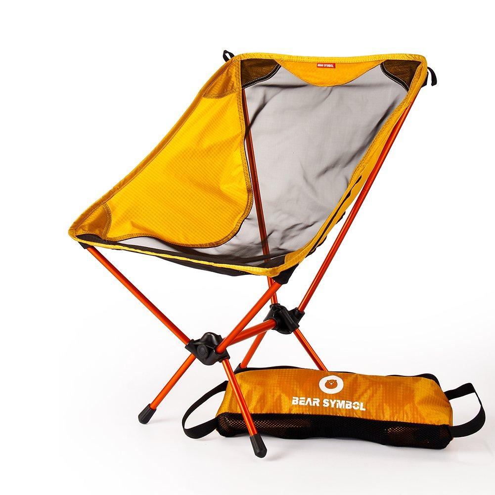 Tragbarer Faltbar Camping Stühle Campingstuhl Klappstuh Freizeitstuhl Strandstuhl Stark Und Haltbarer Ultraleichter Mit Tragetasche Für Wandern Angeln Strand Freien(Orange)