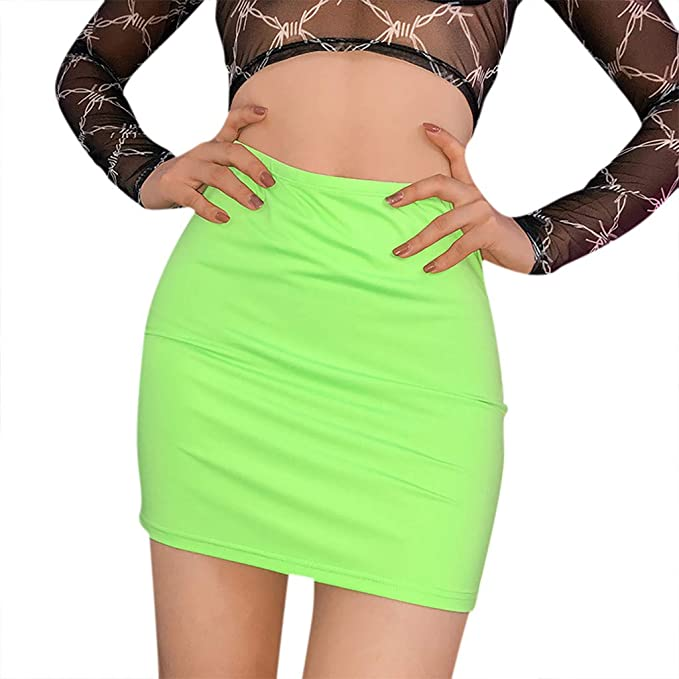 Moda Mujer Sexy Sólido Fluorescencia Color Casual Tight Hit Falda ...