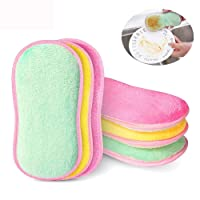 Misswonder(TM) Antibacterial Kitchen Scouring Pads Double Sided Microfiber Scrubber Scourer Non Odor Dish Scrubbing Sponges Superfine Fiber Scrubber Brush for Washing Pot Pan Bowl