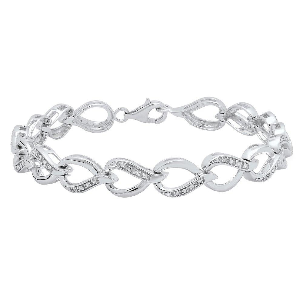 0.15 Carat (ctw) Sterling Silver Round White Diamond Ladies Tennis Link Bracelet