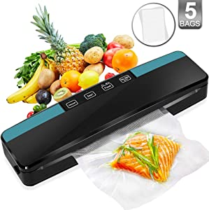 Deesoo Vacuum Sealer Machine for Food Preservation - Portable Automatic Vacuum Sealer Air Sealing Machine for Dry & Moist Food Modes with Extra 5 Pcs Provide Vacuum Sealing Bags
